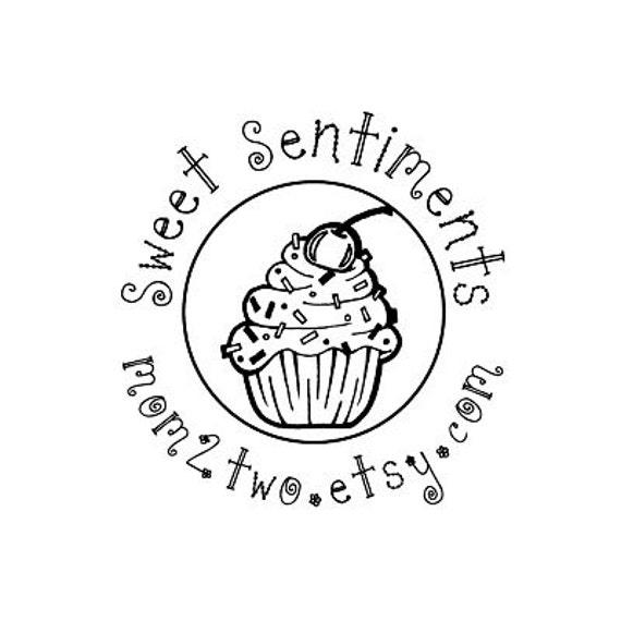Cute Cupcake Custom Rubber Stamp