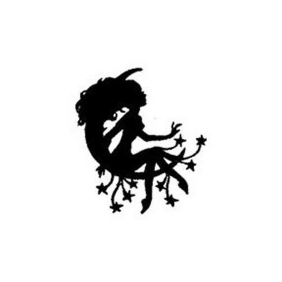 mini Silhouette of a Girl sitting on the Moon with stars Rubber Stamp