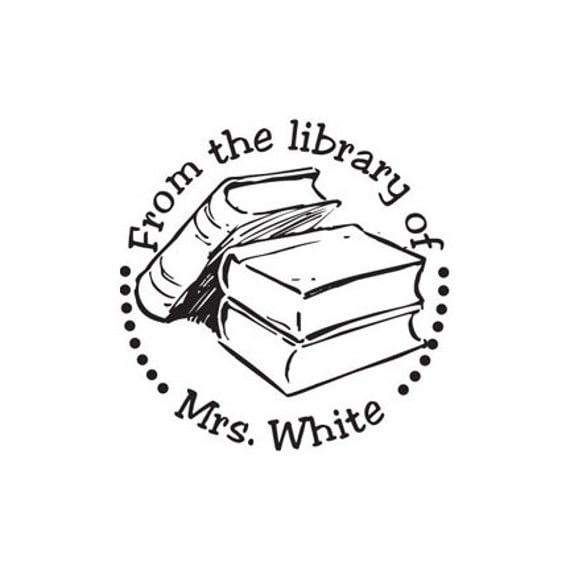 Teacher Gift From the Library of custom Rubber stamp