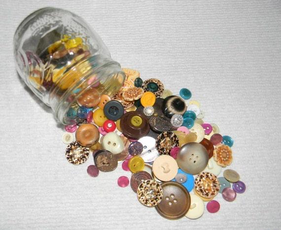 Jar of vintage buttons colors
