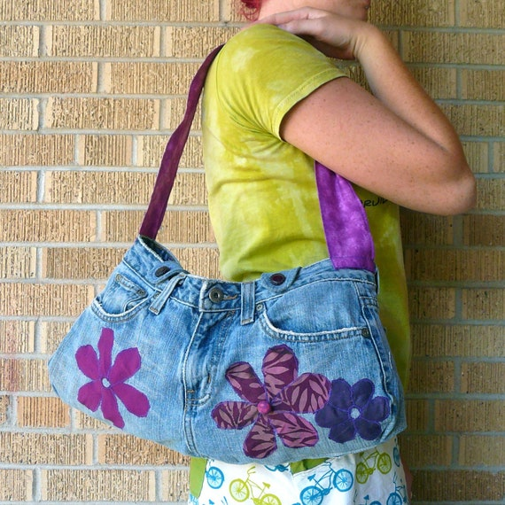 Upcycled Messenger Bag Purple Flowers Recycled Butt Bag