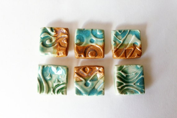 Reserved for Sue, DIY Set of Six square Tiles for Pendants, Magnets or Mosaics