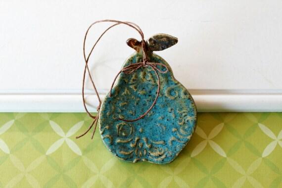 Reserved for Sarah, Ceramic Pear Ornament