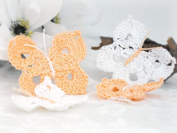 Crochet Butterfly Appliques, Set of 4, Cotton Crochet Butterflies in Peach & White