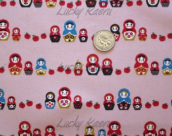 SALE Kawaii Japanese Matryoshka Apple Row Pink Fabric - Half Yard