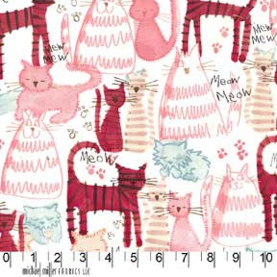 NEW Michael Miller Meow Meow Kitty Cat Pink Fabric- By the Yard