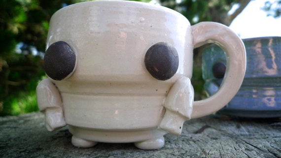 Hand thrown ceramic Robot mug-stoneware