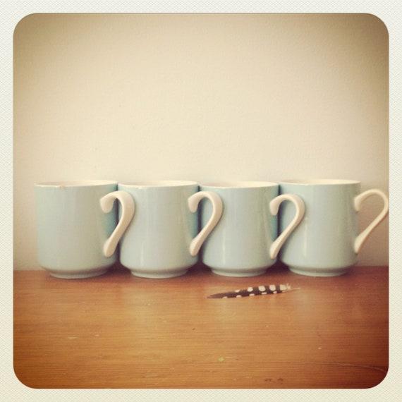 Robin Egg Blue Coffee Cups Teacups SET OF 4 - Shabby Chic - Jonas Roberts Cera-Stone Japan - 1950s