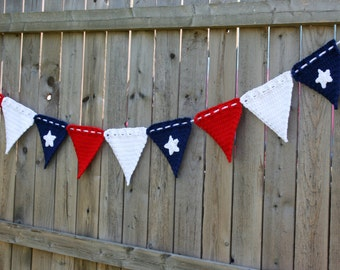 Patriotic Banner Flag Decoration Crochet Pattern Instant Download Wall Hanging Fourth of July Memorial Day Instant Download