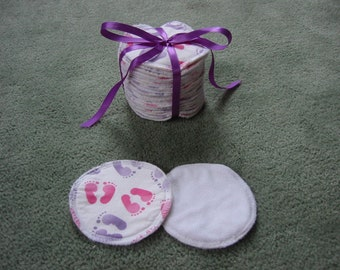 Reusable cotton, hemp and microfleece breastfeeding / nursing pads - set of 20