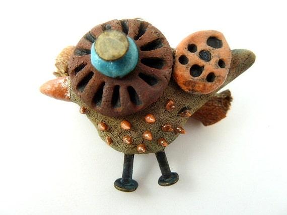 Raku Bird Ceramic Pendant Raku Jewelry Supplies Handmade by MAKUstudio