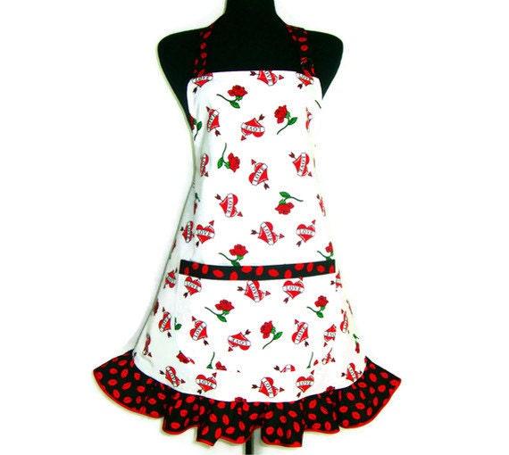 Hearts and Roses , Retro Kitchen Apron ,  Hostess Style Ruffle and Pocket