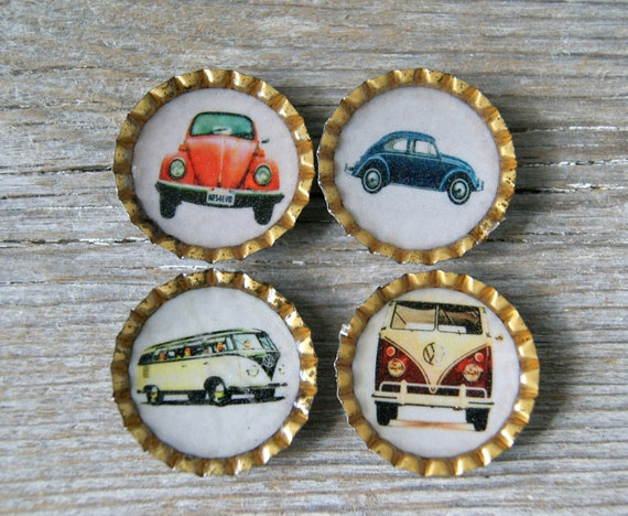 Volkswagen VW Magnet Set - 4 Bottle cap Magnets Bug Bus Splitty Beetle - Recycled Upcycled