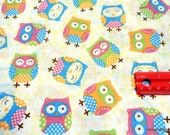 Clearance SALE, One Yard Cut Quilt Fabric, Cute Colorul Owls from Sugar and Spice Textiles, Sewing and Quilting Supplies
