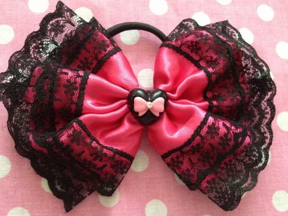 SALE Black Heart Retro Style Kawaii Pink Bow Ponytail holder