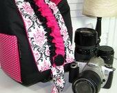 camera bag Small HOBO candy damask w/hot pink interior-Ready to ship SNUGGLENS