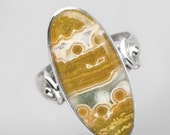 Sale: Yellow Ocean Jasper and Sterling Silver Ring Size 7.5