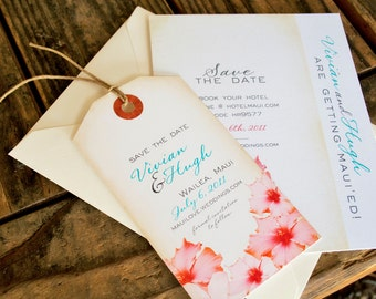 Hibiscus Save the Dates, Tropical Luggage Tag Magnets for your Wedding  - Design Fee