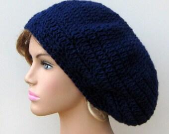 Dark blue slouchy beanie, Navy blue beret dread tam slouchy beanie hat Hippie men women slouchy hat