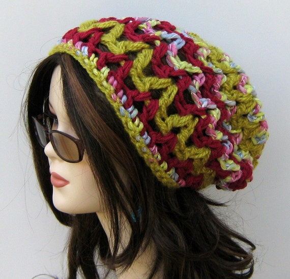 Chunky slouchy beanie BoHo Hippie Hat citron maroon bohemian crochet