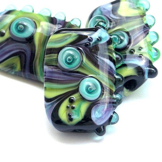 Black Lights - Handmade Lampwork Glass Bead Set in Black, Lime Green and Purple (3) OOAK