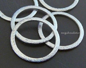 10 pcs 20mm Sterling Silver Rings Hammered Brushed Round Ring F118