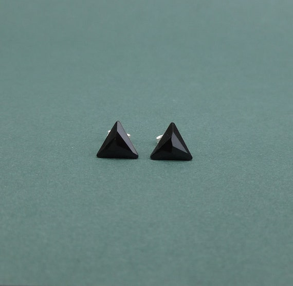 sweet jet black triangle stud earrings swarovski crystal sterling silver posts