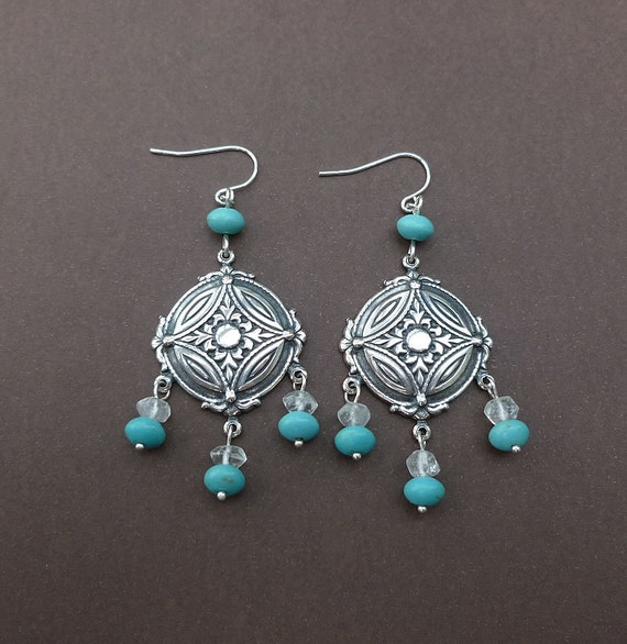 silver dream catcher earrings with crystal quartz and blue magnesite gemstone beads sterling silver earrings