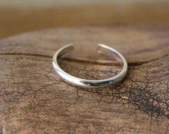 Sterling Silver Toe Ring- Skinny Shiny Half Round