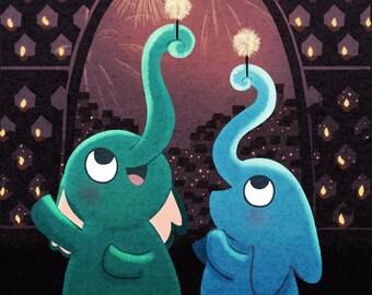 "Elephant Painting, Elephant Wall Art, Cute Elephant Illustration  - ""Festival of Lights"""
