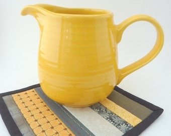 Mini Mug Quilt - Patchwork Coaster in Grey / Gray and Yellow Stripes