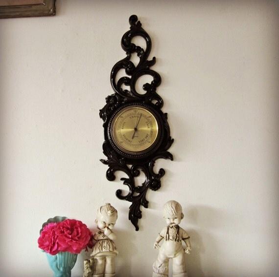 Upcycled Vintage Barometer Syroco Ornate Black Wall Decor