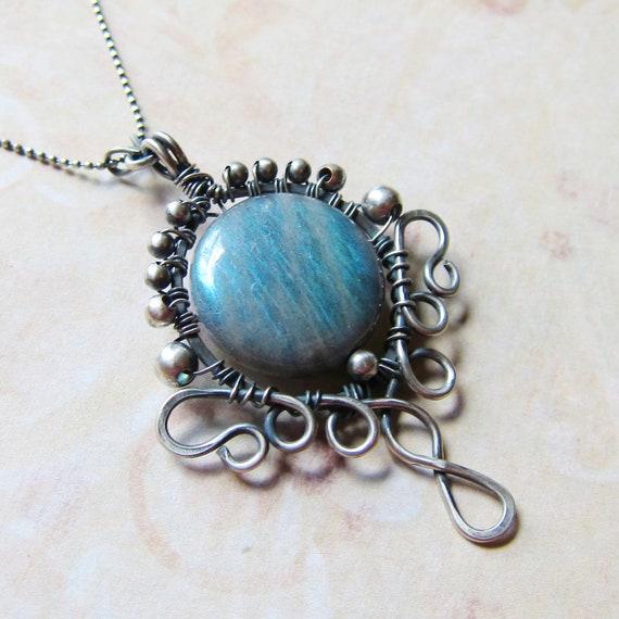 Elven Tears Petite Pendant - Aqua Blue Labradorite