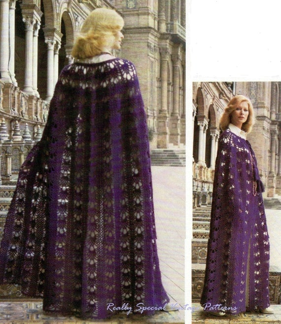 Free Crochet Pattern For Hooded Cape : Ladies Crochet Cape Cloak Vintage Pattern PDF Instant