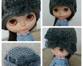bow pomp cloche in grey polka dots
