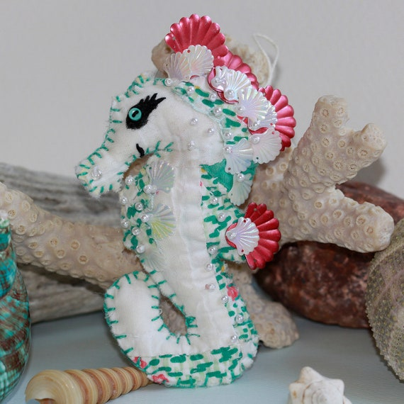 Sweetie of The Sea - Pearls and Vintage Sequins  - White Sea Horse Quilty Critter
