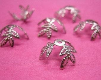 30 pieces antique silver finish filigree leaf bead caps-3151