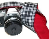 Camera Strap - Black Check with Red Lining - SLR, DSLR by Howard Avenue with Genuine Leather Tab Ends