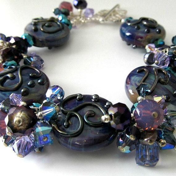 ON SALE Lampwork bracelet Lavender Blue Purple Sterling Silver Beaded bracelet Crystals beaded jewelry by pacificjewelrydesign