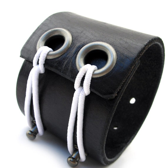 Black Leather Cuff Bracelet with Double Adjustable Elastic Closure, EcoFriendly, Unisex, OOAK