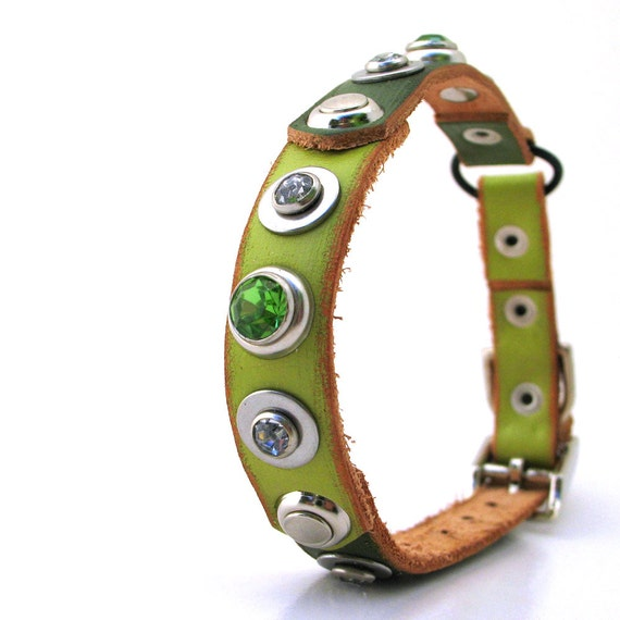 Leather Cat Collar Two Tone Green with Rhinestones, Size XS/S, 8-10in Neck, EcoFriendly, Unique, OOAK