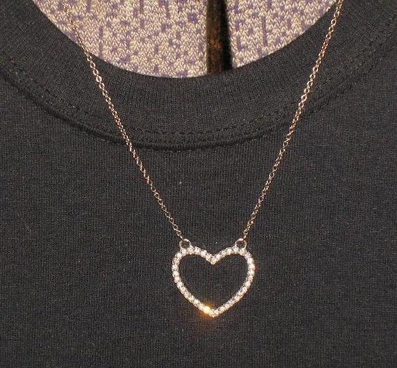 Vintage rhinestone heart necklace