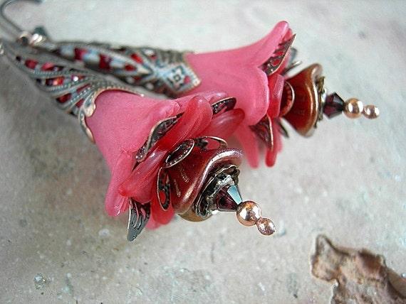 Fairy Flower Earrings, Red Queen, Elven Wand, Antiqued Copper, Resin Flower, Handmade