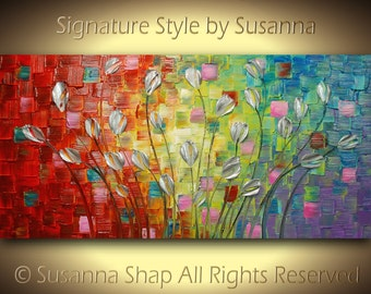 ORIGINAL Large Abstract Contemporary Silver Flowers Landscape Heavy Texured Modern Multicolored Painting  by Susanna Ready to Hang 48x24