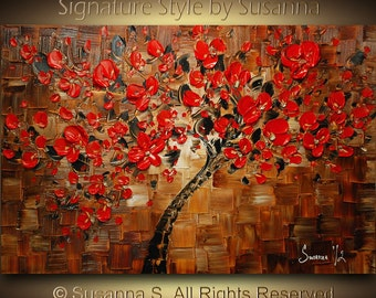 ORIGINAL Abstract Contemporary Brown Red Cherry Blossom Tree Painting Thick Texture Ready to Hang Gallery Canvas 36x24 by Susanna Made2Order