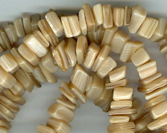 Shell Chip Beads, Brown Mother of Pearl Shell Nugget Spacer Chip Beads 34 inch Brown MOP Bead Chips