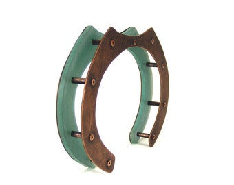 Oxidized Copper and Aqua Resin Architectural Riveted Cuff Bracelet - Tranquil