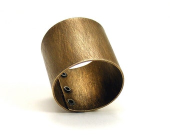 Oxidized Brass and Sterling Silver Riveted Finger Cuff - Transfix