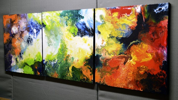 Original Abstract Painting, Triptych, three canvases 20x60 inches ...A Glimpse Through Time... by Sally Trace