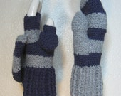 READY TO SHIP Violet n Gray Yin Yang Convertible Fingerless Gloves  Mittens with Thumb Flaps, Size 7.25